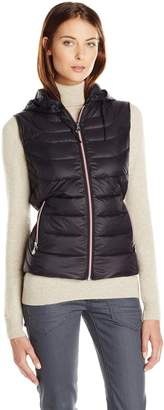 Bernardo Women's Packable Cinched Back Fit & Flare Vest with Detachable Hood
