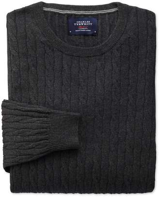 Charles Tyrwhitt Charcoal Cotton Cashmere Cable Crew Neck Cotton/Cashmere Sweater Size Small