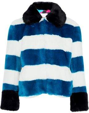 Ainea Striped Faux Fur Jacket