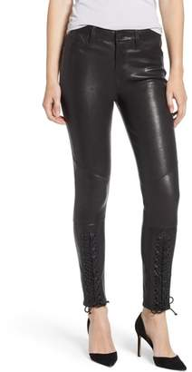 Hudson Nico Lace-Up Super Skinny Lambskin Leather Pants