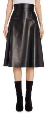 Alexander McQueen High-Waist Leather Midi Skirt
