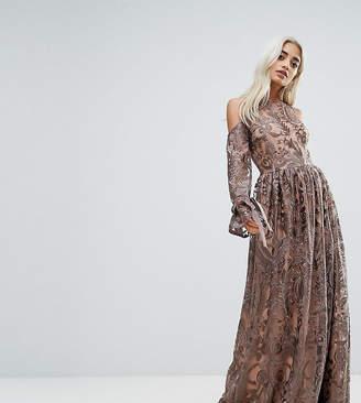 True Decadence Petite Cold Shoulder Premium Embroidered Maxi Dress