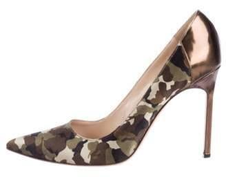 Manolo Blahnik Satin Camouflage Pumps Green Satin Camouflage Pumps