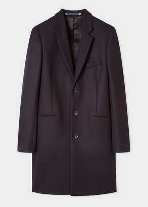 Paul Smith Men's Dark Navy Wool And Cashmere-Blend Overcoat