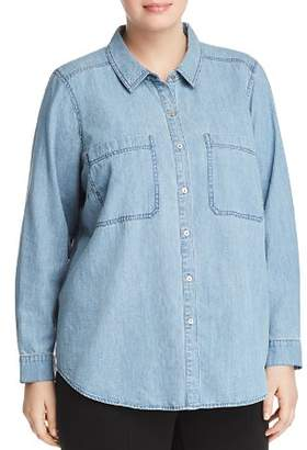 Eileen Fisher Plus Chambray Button-Down Top