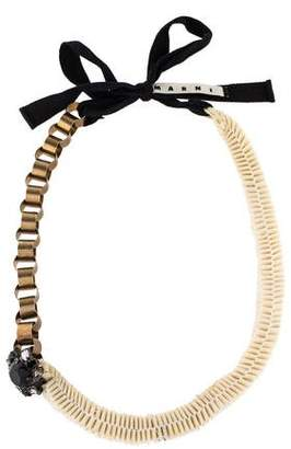 Marni Crystal Flower, Accordion & Chain-Link Necklace