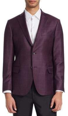 Saks Fifth Avenue COLLECTION Plaid Windowpane Wool Blazer