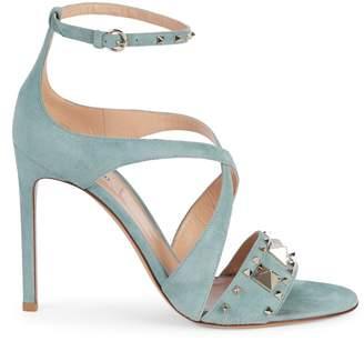 Valentino Studded Suede Heeled Sandals