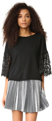 Autumn Cashmere Cropped Sweater with Lace Sleeves $276 thestylecure.com