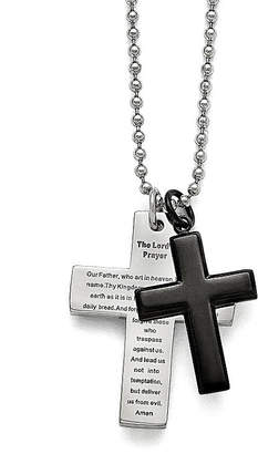 FINE JEWELRY Mens Stainless Steel Black Ip-Plated Lords Prayer Cross Pendant