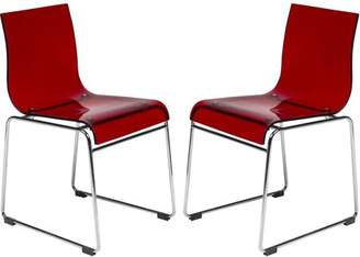 LeisureMod Lima Modern Acrylic Chair, Transparent Red, Set of 2