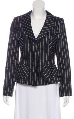Armani Collezioni Striped Linen Blazer Black Striped Linen Blazer