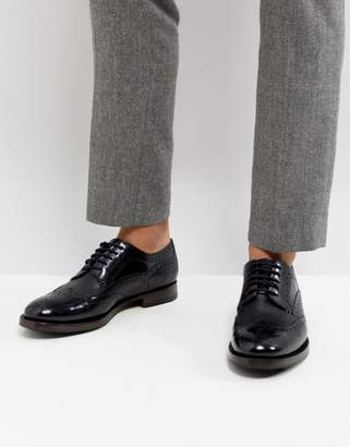Ted Baker Senape Leather Brogue Shoes In Black