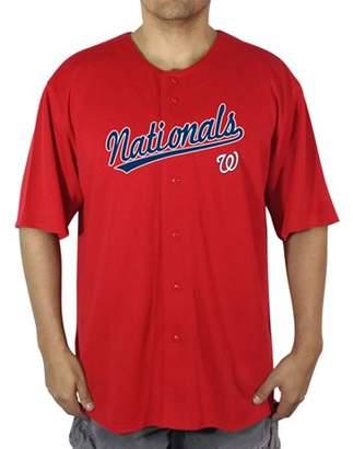 MLB Washington Nationals Big Men's Poly Button Down Jersey