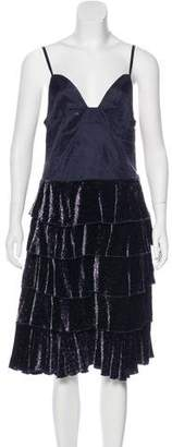 Marc by Marc Jacobs Velvet-Accented Knee-Length Dress