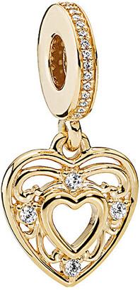 Pandora 14K Romantic Heart Cz Charm