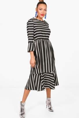 boohoo Clarissa Stripe Ruffle Hem Midi Skater Dress