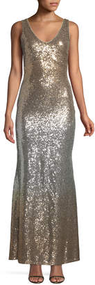 Marina Sleeveless Shimmer-Ombre Gown