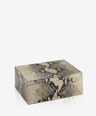 GiGi New York Large Box In Gold Wash Embossed Python Leather