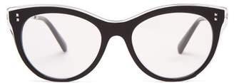 Valentino Cat Eye Acetate Glasses - Womens - Black