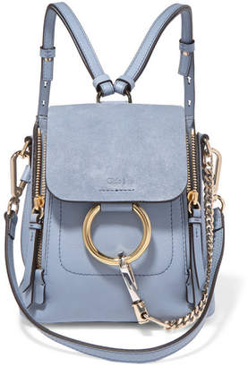 Chloé Faye Mini Textured-leather And Suede Backpack - Light blue