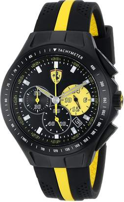 """Ferrari Men's 0830025 """"Race Day"""" Stainless Steel Watch with Yellow-Striped Silicone Strap"""