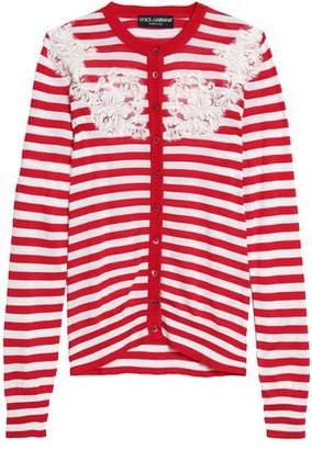 Dolce & Gabbana Lace-Appliquéd Striped Silk Cardigan
