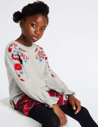 Marks and Spencer Embroidered Sweatshirt (3-16 Years)