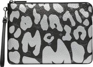 MCM Wristlet Zip Pouch In Leopard Print