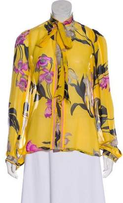 Leonard Silk Floral Print Top