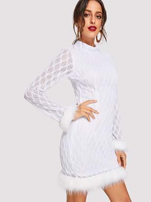 Shein Stand Collar Contrast Faux Fur Trim Dress