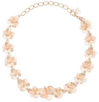 Oscar de la Renta brushed texture flower necklace