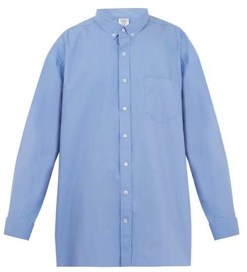 Oversized logo-print cotton-blend shirt