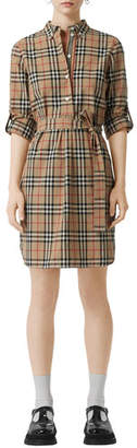 Burberry Vintage Check Cotton Tie-waist Shirtdress
