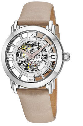Stuhrling Original Stainless Steel Case on Tan Satin Twill Covered Genuine Leather Strap, Silver Dial, with Tan Accents