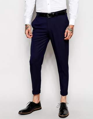 Asos Skinny Crop Smart Trousers In Navy