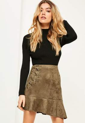 Missguided Khaki Faux Suede Frill Hem Eyelet Detail Mini Skirt