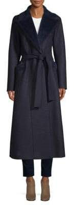 Harris Wharf London Women's Self-tie Wool Trench Coat - Navy - Size 40 (4)