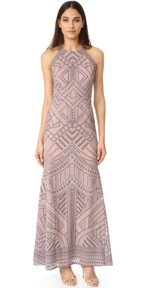 BCBGMAXAZRIA Mesh Inset Gown $448 thestylecure.com