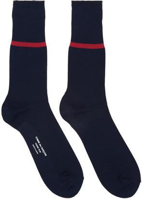 Comme des Garçons Homme Plus Navy Stripe Socks $40 thestylecure.com