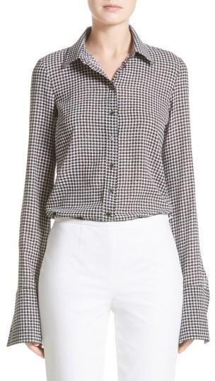 Women's Michael Kors Houndstooth Silk Georgette Shirt