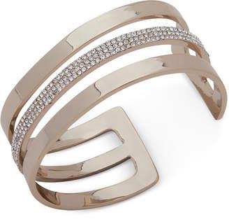 DKNY Gold-Tone Pave Triple-Row Cuff Bracelet