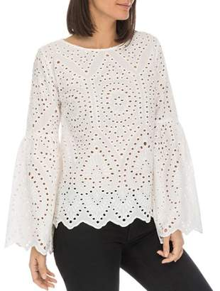 Bobeau B Collection by Tessa Eyelet Bell-Sleeve Top