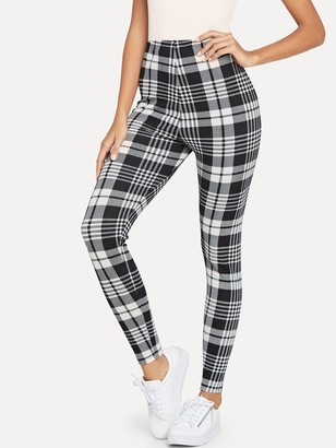 Shein Plaid Print Leggings