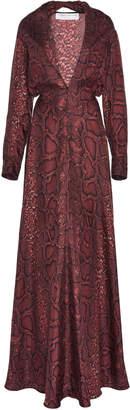 Victoria Beckham Snake-Print Silk-Crepe De Chine Maxi Dress