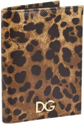 Dolce & Gabbana Leather Leopard Printed Passport Holder