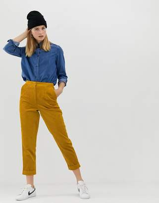 Asos Design DESIGN jumbo cord tapered pants with turn up