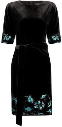 Nissa Midi Velvet Black Dress
