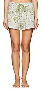 Castle & Hammock Women's Floral Cotton Voile Drawstring Shorts - White