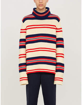 Gucci Striped turtleneck cotton and wool-blend jumper
